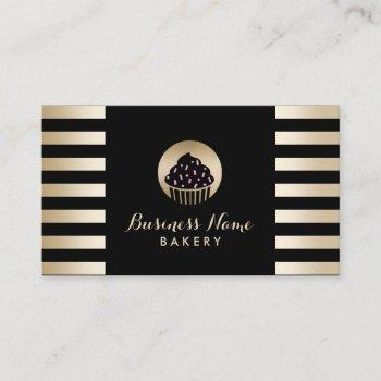 bakery sweet cupcake modern black & gold stripes business card