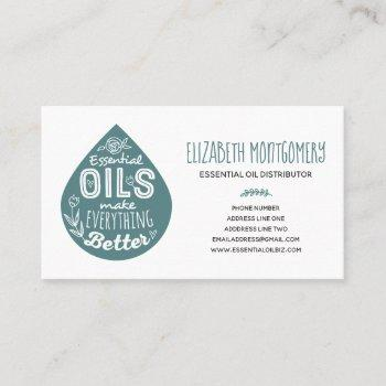 balance teal essential oil drop business card