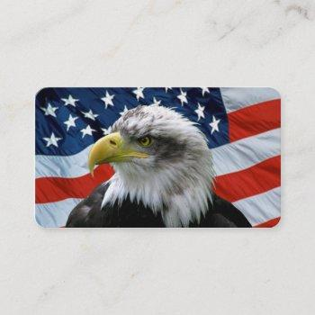 bald eagle american flag round corner business card