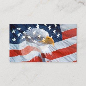 bald eagle on the american flag business card
