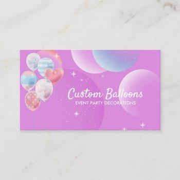 balloons event party planner decoration purple business card
