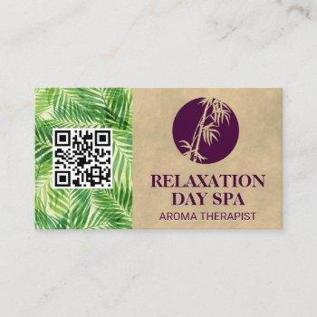 bamboo icon   palm leaf   qr code business card