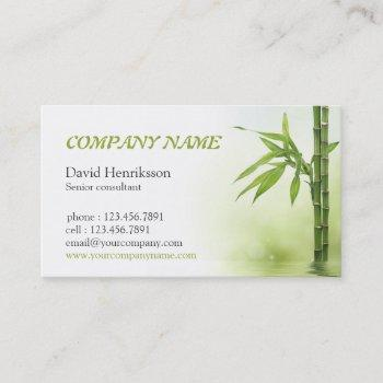 bamboo in water with reflection design business card
