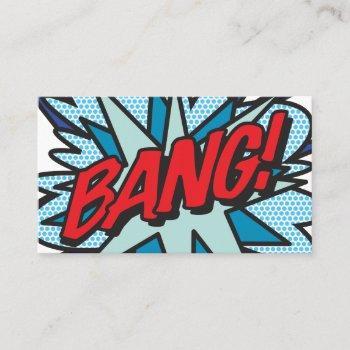 bang fun retro comic book business card