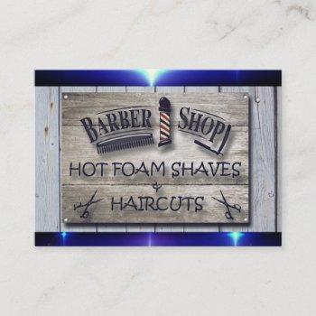 barber logo- sign  popping blue trim business card