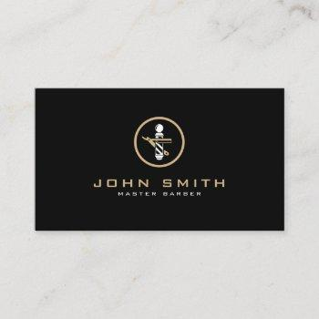 barber logo with straight razor & barber pole business card