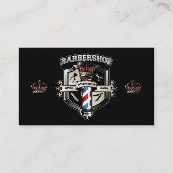 barber pole and crown business card personalize
