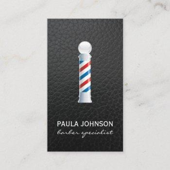 barber pole appointment leather background business card