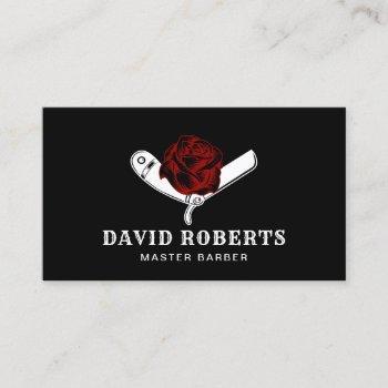 barber razor & red rose barbershop black hair business card