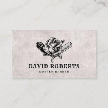 barber razor & rose logo barbershop hair stylist business card