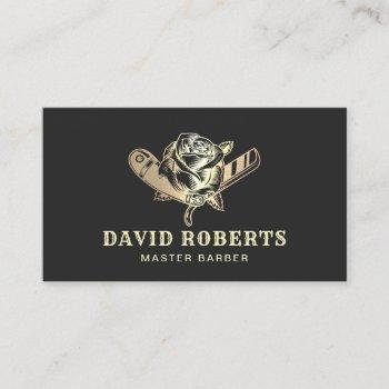 barber razor & rose logo black gold barbershop business card