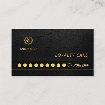 barber shop luxury black leather loyalty punch business card