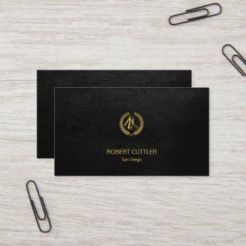 barber shop luxury simple black leather look business card