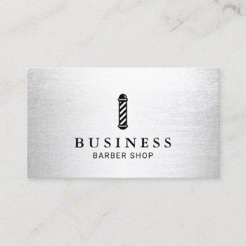 barber shop modern silver hair stylist minimalist business card