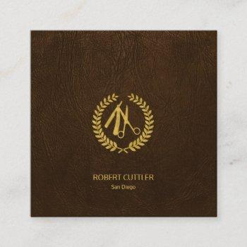barber stylist luxury gold dark brown leather look square business card