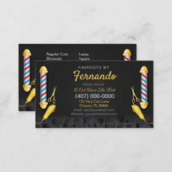 barbershop template (barber pole and clippers) business card