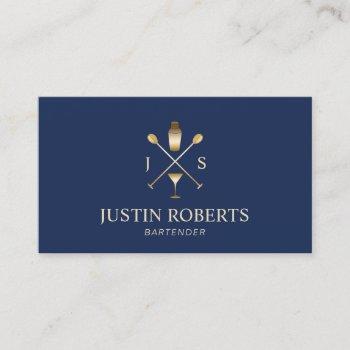 bartender bar club modern navy blue & gold business card