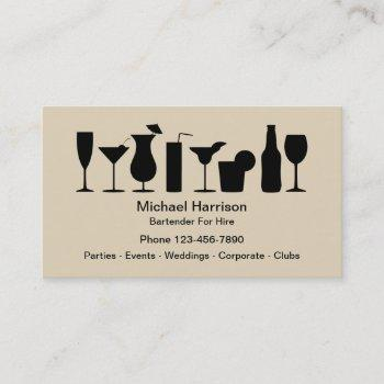 bartender for hire mixologist business card