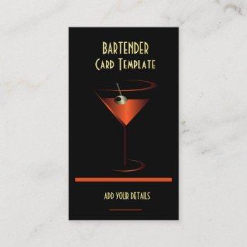 bartender red metallic cocktail business card