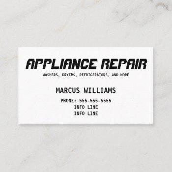 basic appliance repair business card
