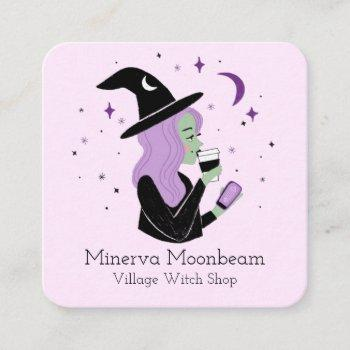 basic witch pastel witch shop square business card