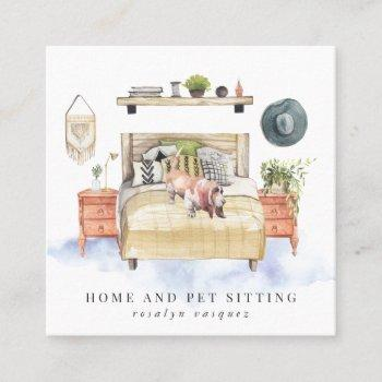 basset hound | home and pet sitting square business card