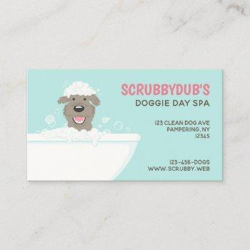 bathtub dog | dog wash | dog groomer business card