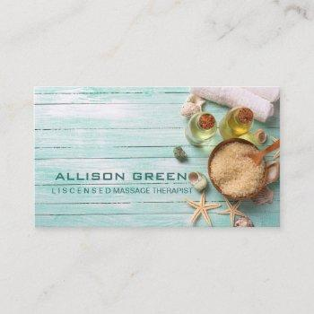 beach aromatherapy massage therapist spa salon business card