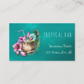 beach bar tropical bartender business cards