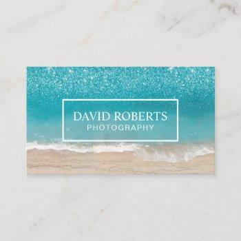 beach theme photography modern photographer business card