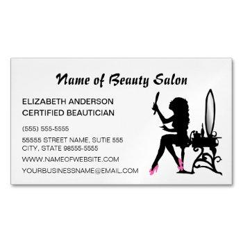 beautician pink and black girly girl hair stylist magnetic business card