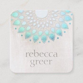 beautiful blue floral lotus mandala white marble square business card