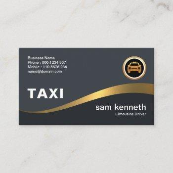 beautiful curving faux gold wave elegant grey taxi business card