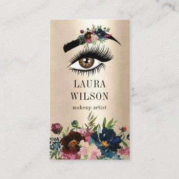 beautiful eye with burgundy watercolor flowers business card