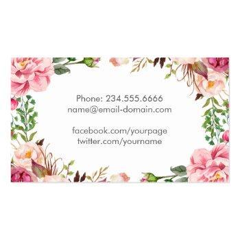 Small Beautiful Floral Graduate Students Graduation Calling Card Back View