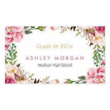 Small Beautiful Floral Graduate Students Graduation Calling Card Front View