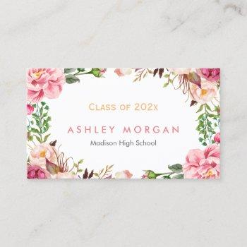 beautiful floral graduate students graduation calling card