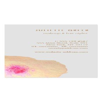 Small Beautiful  Gold Floral Watercolor Salon Spa Business Card Back View