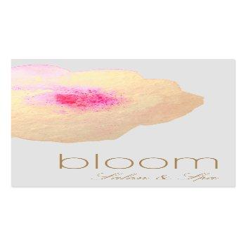 Small Beautiful  Gold Floral Watercolor Salon Spa Business Card Front View