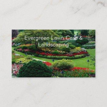 beautiful lawn photo landscaping business card