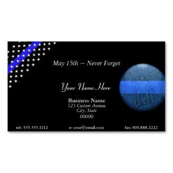 beautiful thin blue line police st michael business card magnet