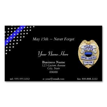 beautiful thin blue line police stars and stripes magnetic business card