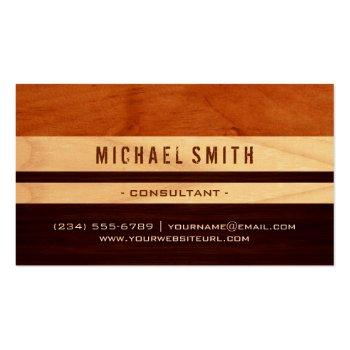 Small Beautiful Wood Grain Stripes - Professional Unique Business Card Front View