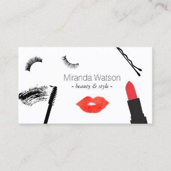 beauty biz eyelashes lips mascara makeup artist business card
