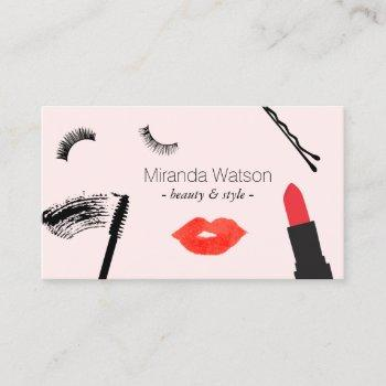 beauty biz eyelashes lips mascara makeup pink business card