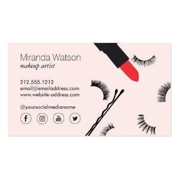Small Beauty Biz Eyelashes Lips Mascara Makeup Pink Business Card Back View