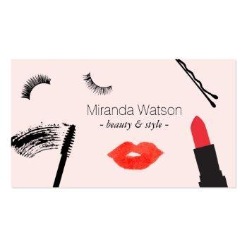 Small Beauty Biz Eyelashes Lips Mascara Makeup Pink Business Card Front View