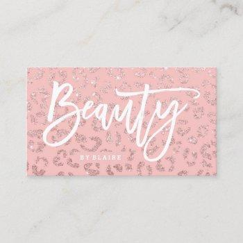 beauty elegant typography rose gold leopard pink business card