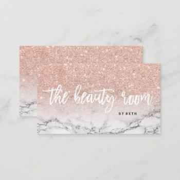 beauty room typography rose gold glitter marble business card