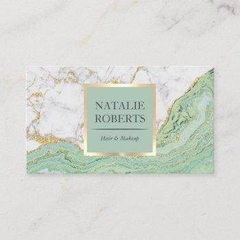 beauty salon mint & gold agate modern marble business card